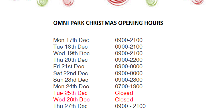 Christmas Hours.Christmas Opening Hours Omni Shopping Centre